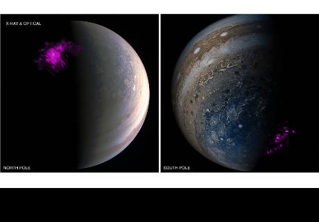 NASA presenta el dúo de Júpiter: sus auroras