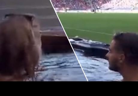 Pareja de enamorados ve partido de fútbol en la comodidad de un jacuzzi y en el mismo estadio