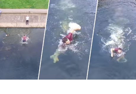 Joven se lanza a lago para evitar que su drone cayera al agua
