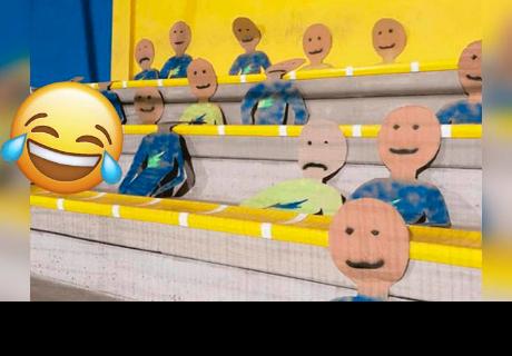 Directivos deciden colocar muñecos de cartón en el estadio por falta de hinchas