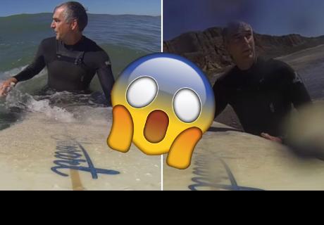 Decidió surfear en solitaria playa, pero algo lo hizo salir despavorido a la orilla