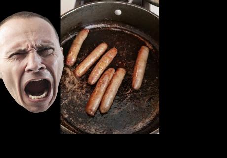 Unas salchichas gritan como 'humanos'mientras son cocinadas en una sartén