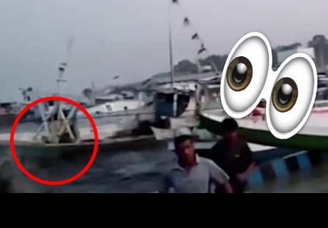¡Insólito! Mira como huyen unos pescadores de tsunami en Indonesia