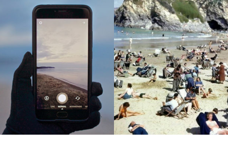 Un 'viajero del tiempo' con un celular 'se cuela' en una imagen de los años 40