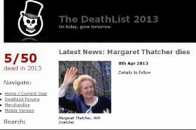 Insólito: Página web 'DeathList' predijo la muerte de Margaret Thatcher