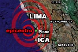 Temblor en Pisco: Sismo se registró hoy al sur del país