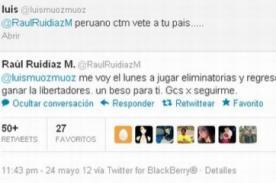 Raúl Ruidíaz responde en twiter a insulto de hincha chileno