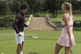 Video: Novak Djokovic vs Maria Sharapova en un campo de golf