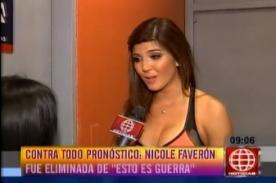 EEG: Nicole Faverón habla después de la eliminación - Video