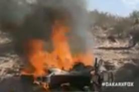 Rally Dakar 2014: Piloto abandona competencia al incendiarse su moto - Video