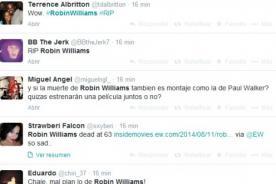 Usuarios lamentan la muerte de Robin Williams en Twitter