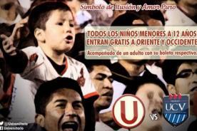 Universitario vs César Vallejo: Niños ingresarán gratis al estadio