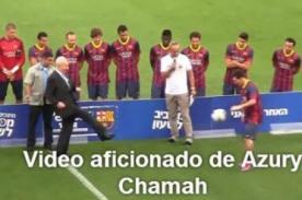 Video: Lionel Messi recibió pelotazo del presidente de Israel