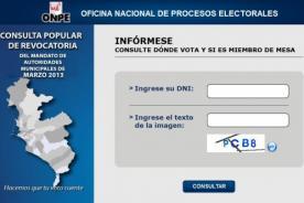 ONPE: Consulta dónde votar para la revocatoria 2013