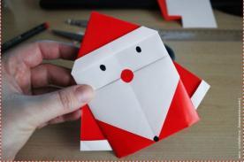 Adornos Navideños: Cómo hacer un Papa Noel de papel origami