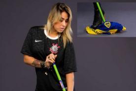 Modelo del Corinthians trapeó el suelo con camiseta de Boca Juniors