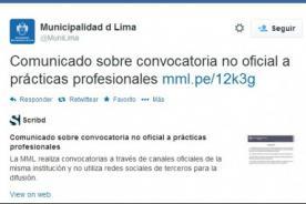 Municipalidad de Lima desmiente oficialidad de convocatoria para prácticas