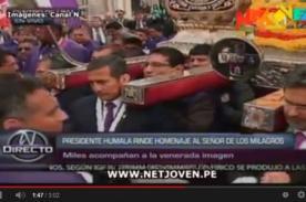 Video: Ollanta Humala cargó en hombros al Señor de los Milagros en procesión