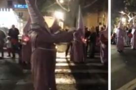 ¡Viral! Nazareno borracho en plena Semana Santa en España