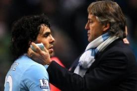 Manchester City: Mancini niega conflictos con Carlos Tévez