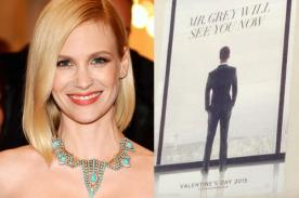 January Jones acusa de copia a póster de Cincuenta Sombras de Grey