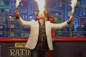 ¡Terror en televisión! Hombre se prende fuego en la boca por arriesgado truco [Video]