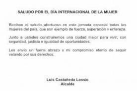Día de la mujer: Alcalde Luis Castañeda envía mensaje y lo trollean en Facebook