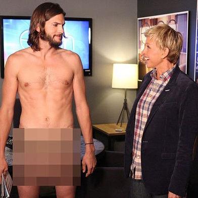 Lo mostró todo: Ashton Kutcher se desnuda ante Ellen DeGeneres