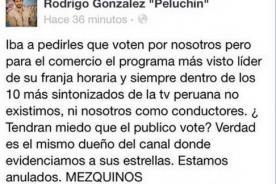 Peluchín arremete contra grupo El Comercio y los tilda de 'mezquinos'