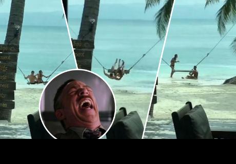 Enamorados se subieron a columpio de la playa, pero tuvieron doloroso final