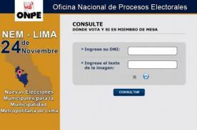 ONPE publica lista de miembros de mesa - Elecciones Municipales noviembre