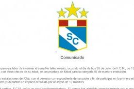 Sporting Cristal envía comunicado tras muerte de joven futbolista