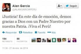 Alan García en Twitter: Demos gracias a Dios con un Padre Nuestro