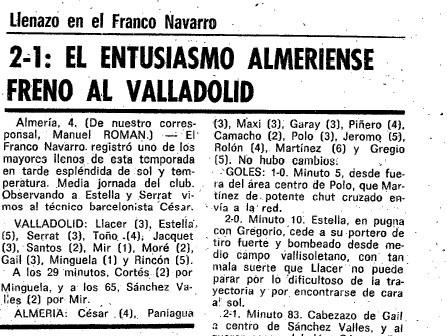 Almería empata 1-1 con el Valladolid