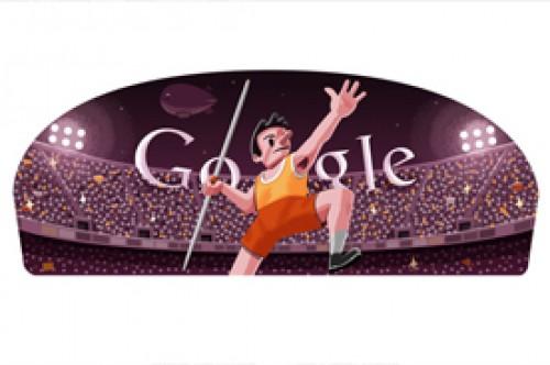 Lanzamiento de jabalina Londres 2012 como nuevo Doodle de Google