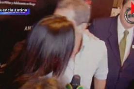 Sandra Arana recibió besos de Antonio Banderas en Lima (Video)