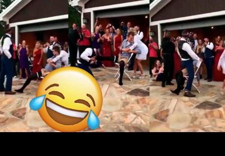 Esposa le hace cruel broma a su pareja en fiesta de bodas y se 'roba' miles de carcajadas