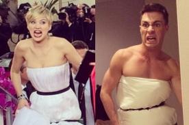 Jennifer Lawrence es punto de burlas por su vestido en los Globos de Oro