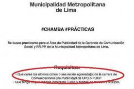 Anuncio de prácticas de municipio de Lima crea polémica en redes sociales