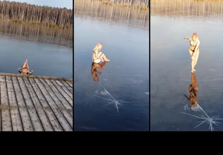 Joven decide lanzarse a un lago congelado y esto pasó