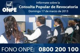 Revocatoria: ONPE habilita líneas gratuitas de consulta a miembros de mesa