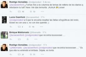 Peluchín y Lucía Oxenford se dicen de todo en Twitter