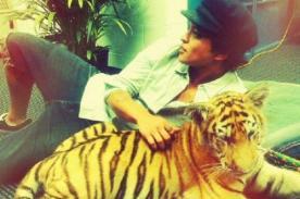 Bruno Mars posa cómodamente con un tigre