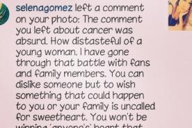 Selena Gomez enfrenta a usuario en Instagram por bullying