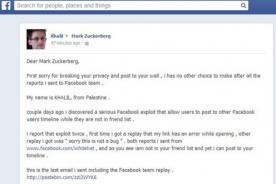 Facebook: Palestino publica en muro de Mark Zuckerberg para avisar fallo de seguridad