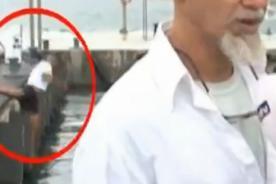 Hombre pasa el 'roche' de su vida al caer de un muelle en TV en vivo [Video]