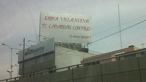 Foto: Pedido de matrimonio en cartel de la avenida Javier Prado