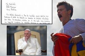 Venezuela: Leopoldo López le escribe emotiva carta al Papa Francisco