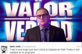 Beto Ortiz se pronunció mediante Twitter sobre muerte de Ruth Thalía