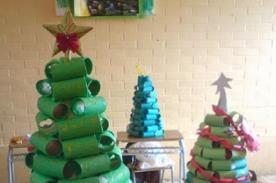 Adornos Navideños: Cómo hacer un árbol de Navidad usando rollos de papel higiénico.